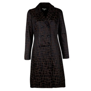 PAULE KA Jacquard Logo Detail Cotton Polyester Trench Coat