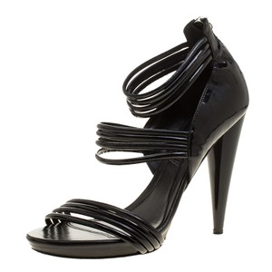 Alexander McQueen Leather Striped Strappy Patent Leather Black Sandals