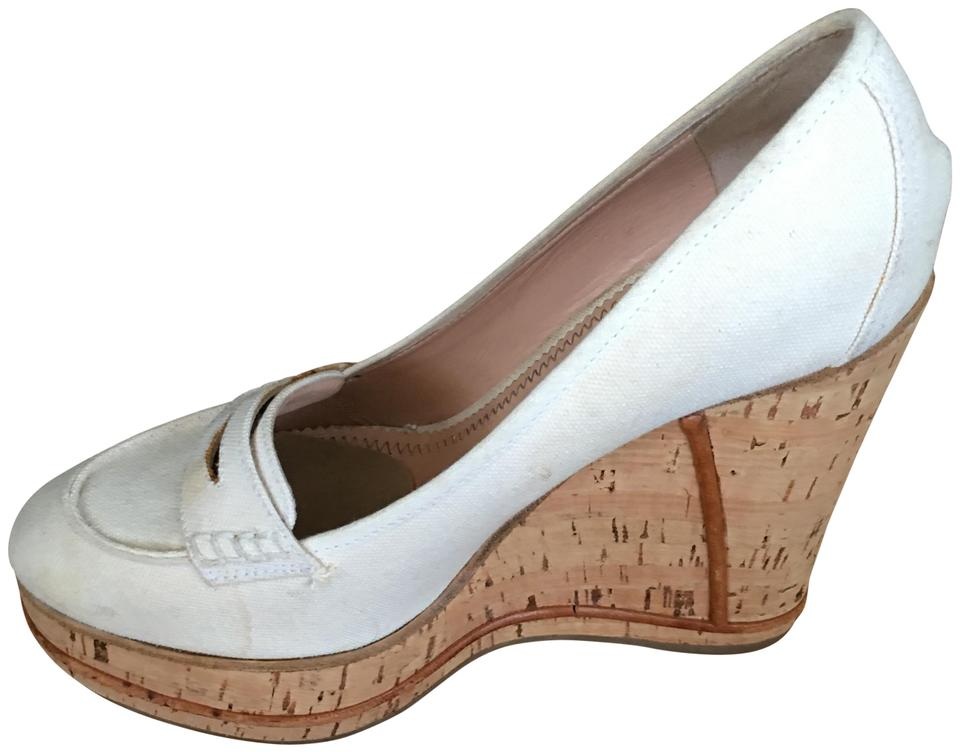 bc3273798a79 Chloé Ivory White Penny Loafers Wedges Size EU 38.5 (Approx. US 8.5 ...