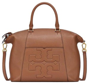 Tory Burch Leather Logo Summer Tote in Bark, Brown, Tan