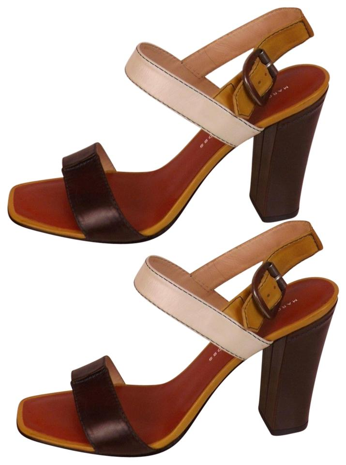 bb55162cee2 Marc by Marc Jacobs Platform Ankle Strap Buckle Tabacco Multicolor Brown  Burgundy White Pumps Image 0 ...