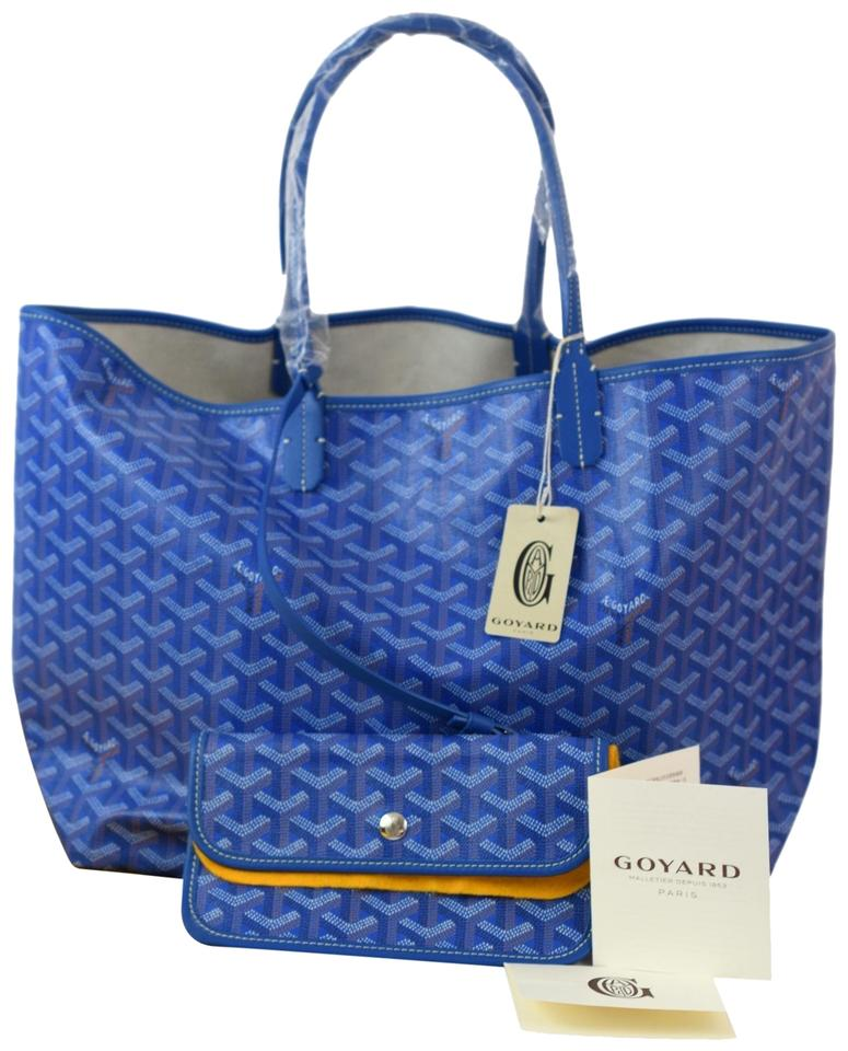 1046653fc68 Goyard Saint Louis (St. Louis) Gm Large Blue Coated Canvas Tote ...