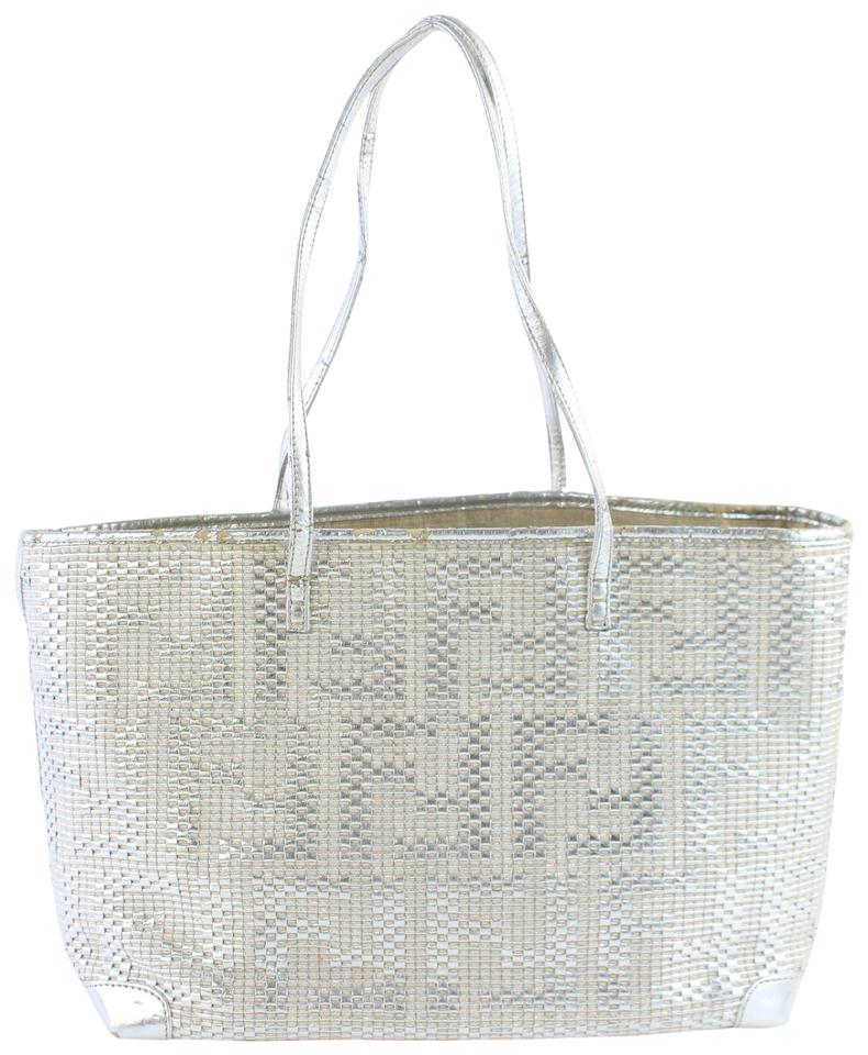 2020016efd0a Fendi Roll Neverfull Woven Shopper Tote in Silver Image 0 ...