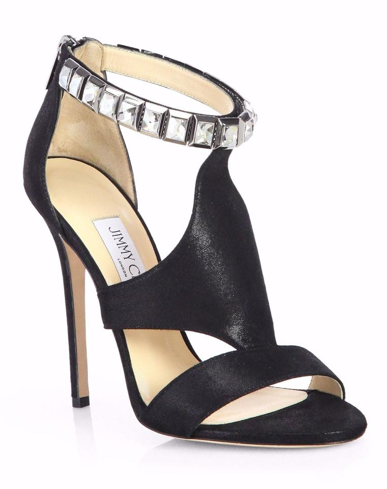 Crystal Suede Halo Jimmy Choo Sandals strap Shimmer Black qXHA6B