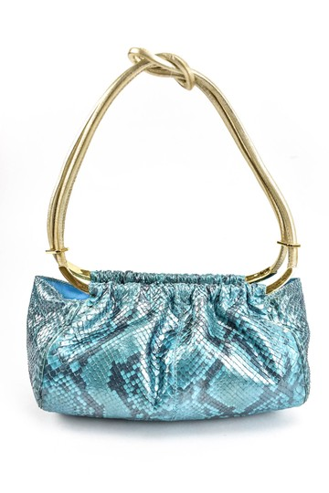Versace Python Leather Evening Gold & Blue (mm) Clutch Image 2