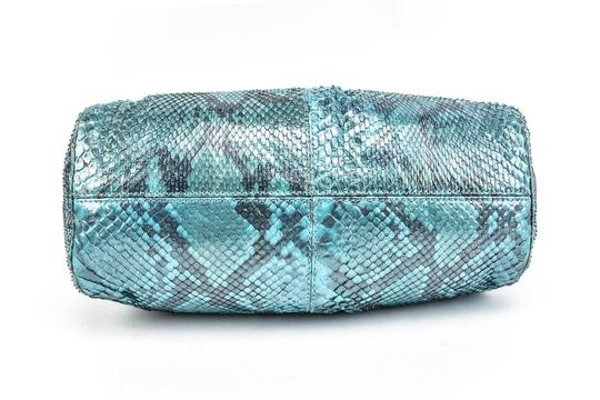 Versace Python Leather Evening Gold & Blue (mm) Clutch Image 4