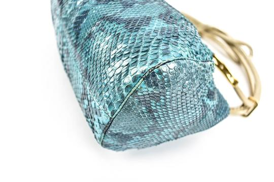 Versace Python Leather Evening Gold & Blue (mm) Clutch Image 6