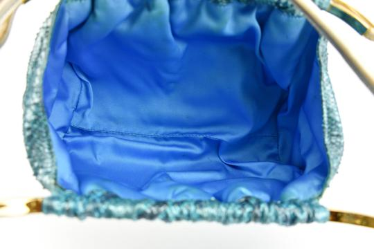 Versace Python Leather Evening Gold & Blue (mm) Clutch Image 7