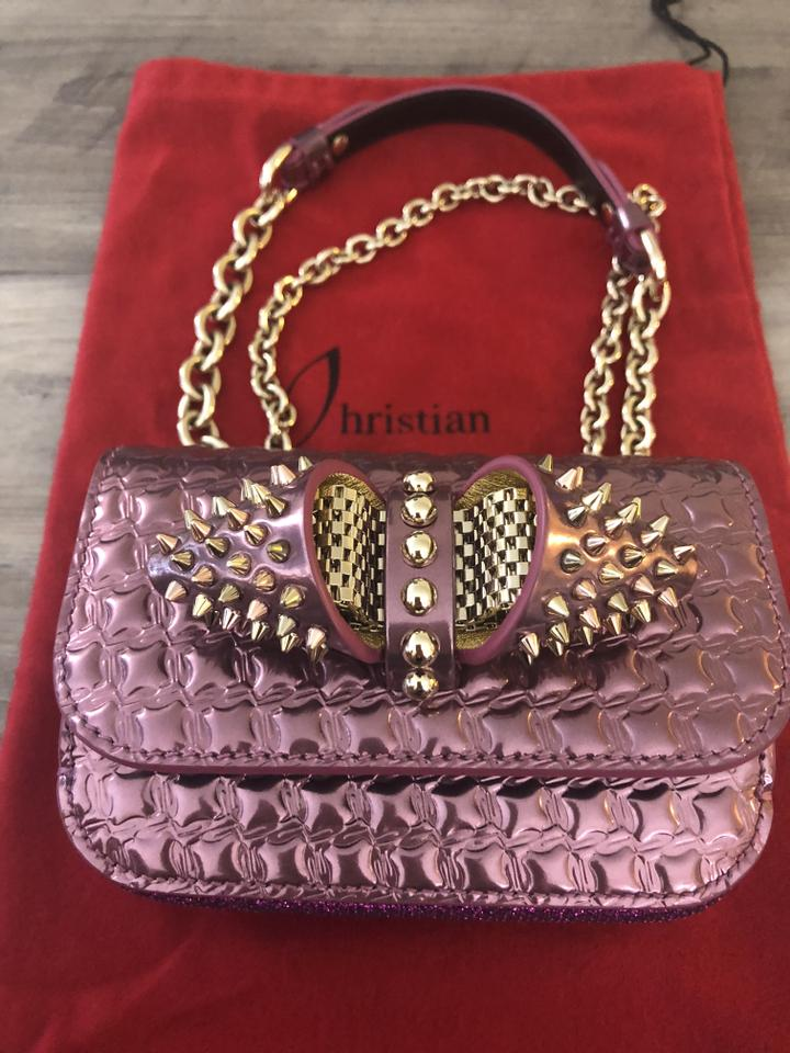Christian Bag Pink Shoulder Leather Cassis Mini Fini Louboutin Sweety Chain Charity Specchio Calfskin rxCwnOZqrg