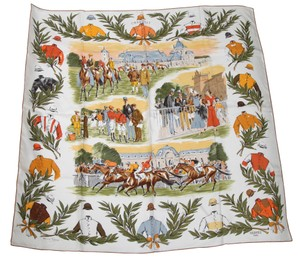 Hermès HERMES Silk Scarf COURSES A CHANTILLY Motif Square Maurice Taquoy