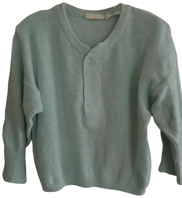 Item - L Ladies Henley Size 3/4 Sleeve Mint Green Sweater