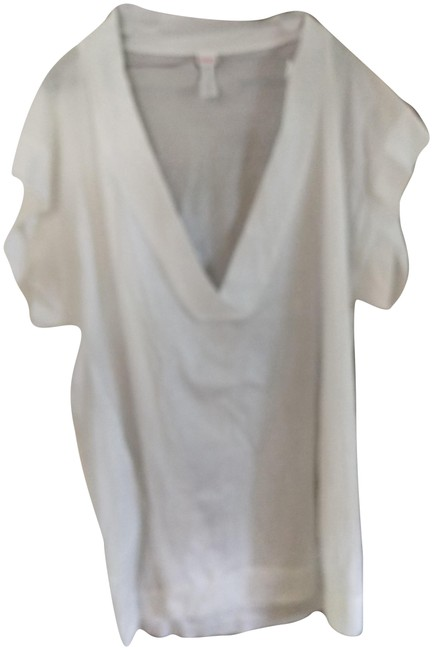 Item - White S/M Oversized Cotton Made In France Deep Vneck Tunic Size 16 (XL, Plus 0x)