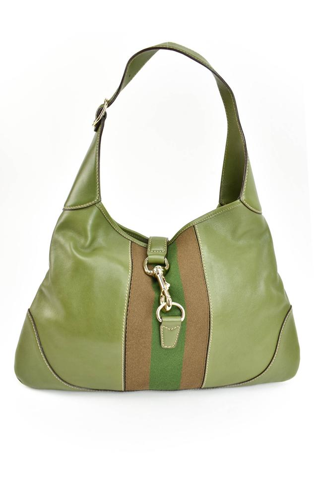 a7cb705e9b9a Gucci Leather Logo Stripe Hobo Green Shoulder Bag Image 0 ...