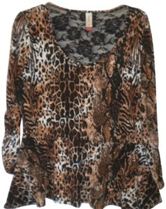No Boundaries Leopard Print Drop Ruffle Waist 3/4 Cinched Sleeve Lace Back Shoulder Top Multi-Color