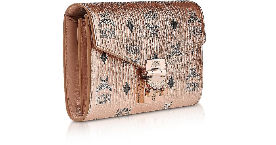 Wallet Bag Large Visetos Rose Champagne Cross Body MCM Gold Patricia Canvas Coated qIFwPPd