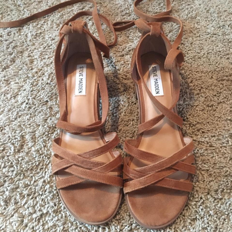 6c6b9a24406 Steve Madden Brown Chunky Lace Up Heels Sandals Size US 9.5 Regular ...