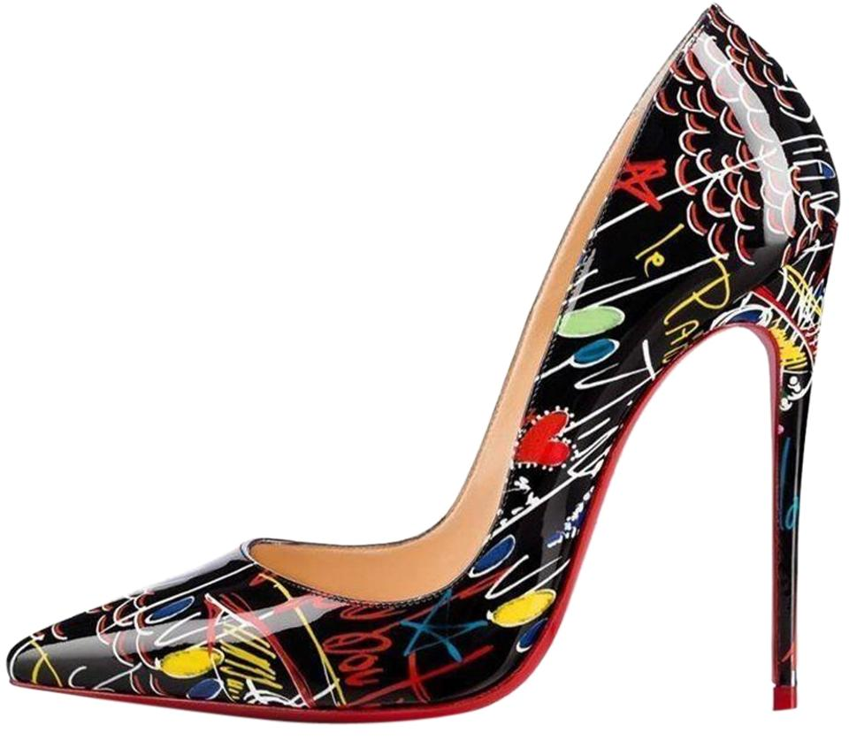 3ec0974ea1b Christian Louboutin Black Flamenco So Kate 120 Patent Leather Loubitag  Graffiti Pumps