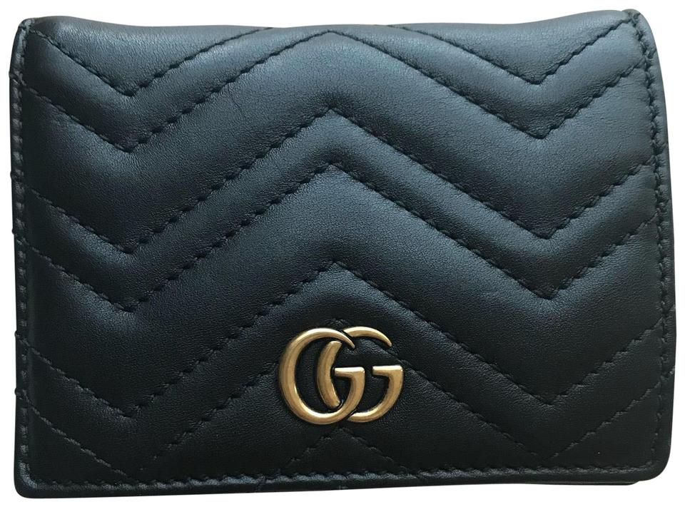 7e51f802876 Gucci Black Marmont Gg Quilted Leather Flap Card Case Wallet - Tradesy