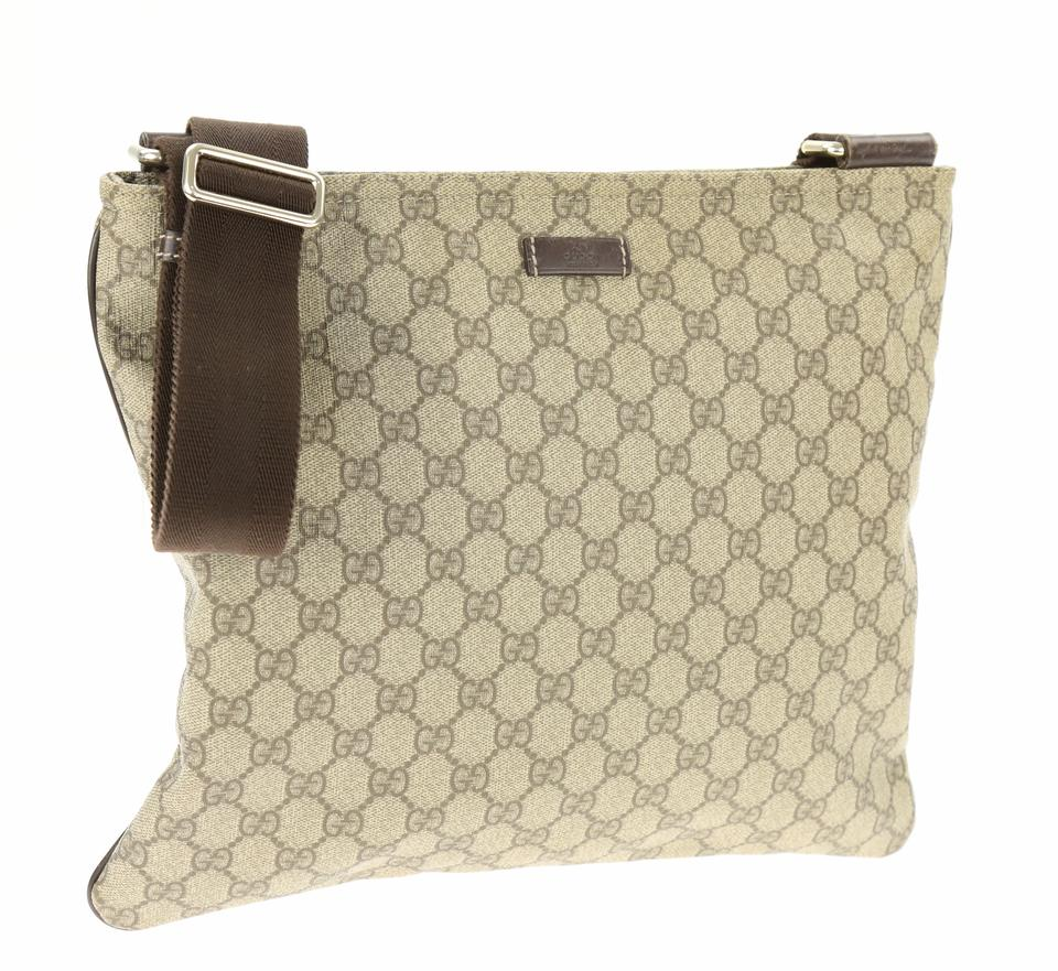 d68be1914606 Gucci Large Gg Brown Coated Canvas Messenger Bag - Tradesy
