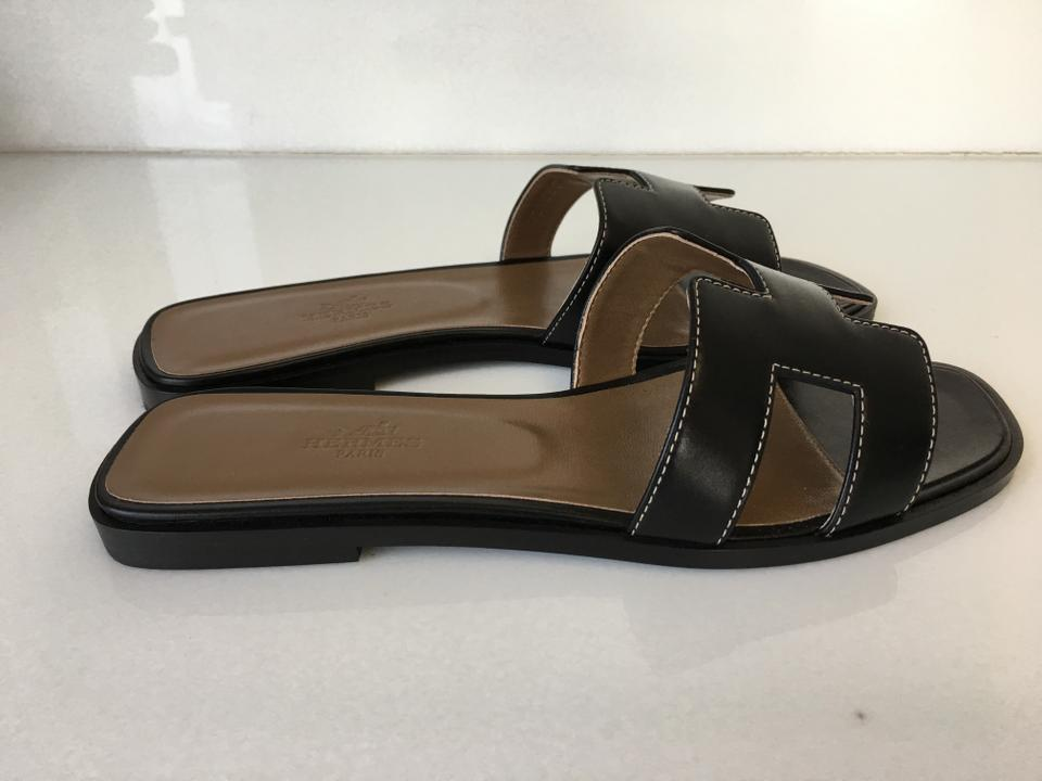 Oran Slip Hermès Sandals Leather Box Flats on Black Classic H YEnqUOE