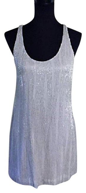Item - Silver/Gray Sleeveless Shimmering Sequin & Chiffon Short Cocktail Dress Size 6 (S)