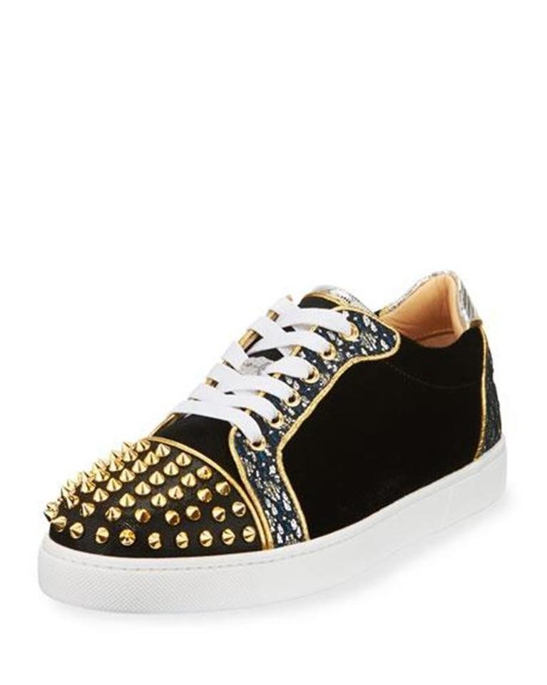 new concept 4f2ae b711b Christian Louboutin China Blue Gold Vieira Spikes Studded Glitter Velvet  Leather Flat Sneakers Size EU 36.5 (Approx. US 6.5) Regular (M, B) 20% off  ...