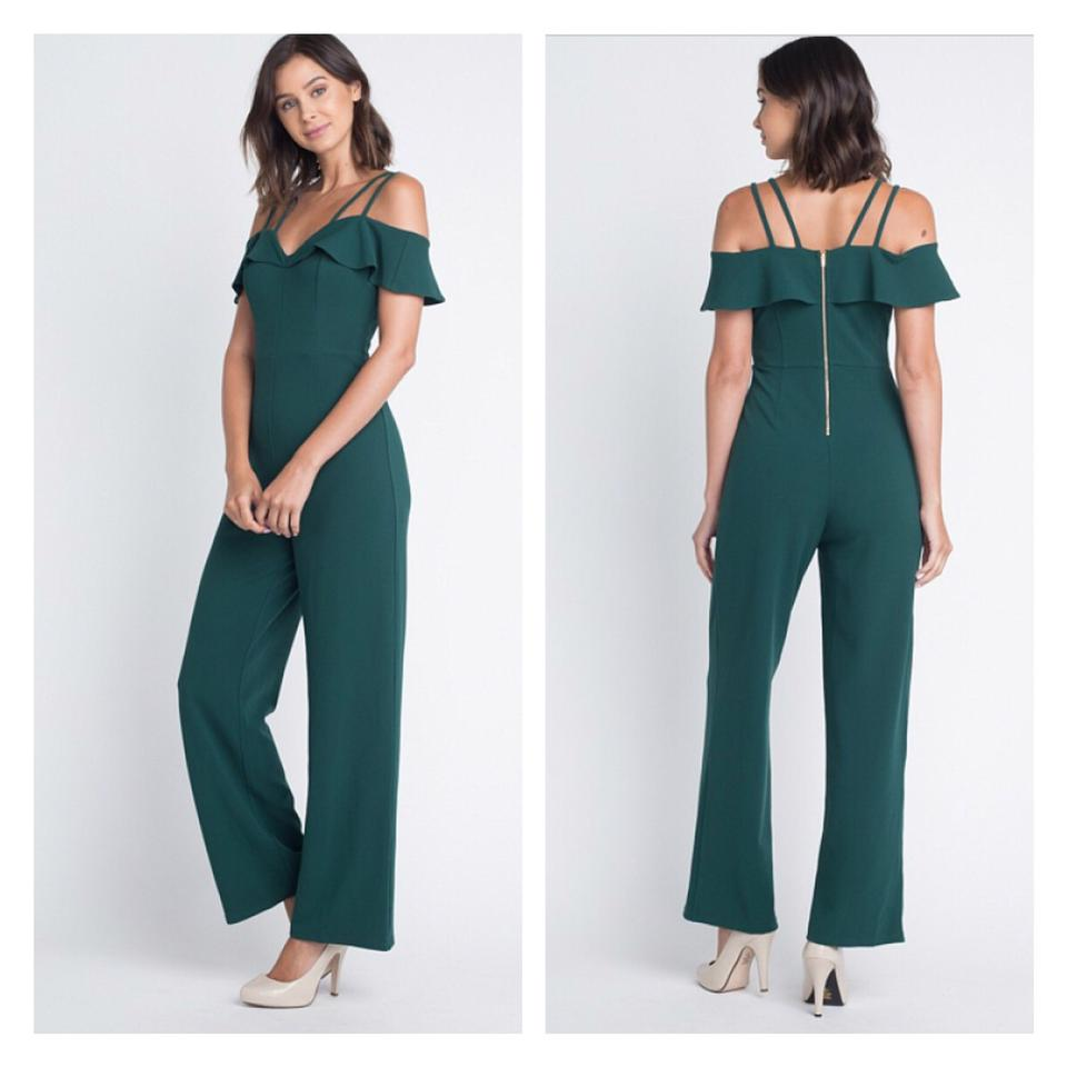 fe200782afd8 Hunter Green Off The Shoulder Double Strap Romper Jumpsuit - Tradesy