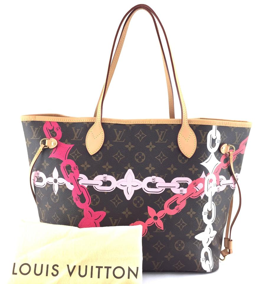 f61be0bf66b0 Louis Vuitton Neo Neverfull  20999 Limited Edition Classic Mm Tote Work  Monogram Poppy Rose Ballerine Color with Print Of Spring Summer 2016  Tropical ...