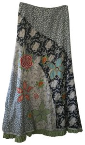 Oilily Quilted Patchwork Floral Embroidered Gingh Maxi Skirt Multicolored