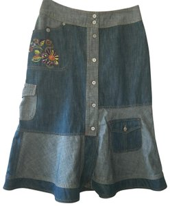 Oilily Americana Quilted Embroid A-line Skirt Denim