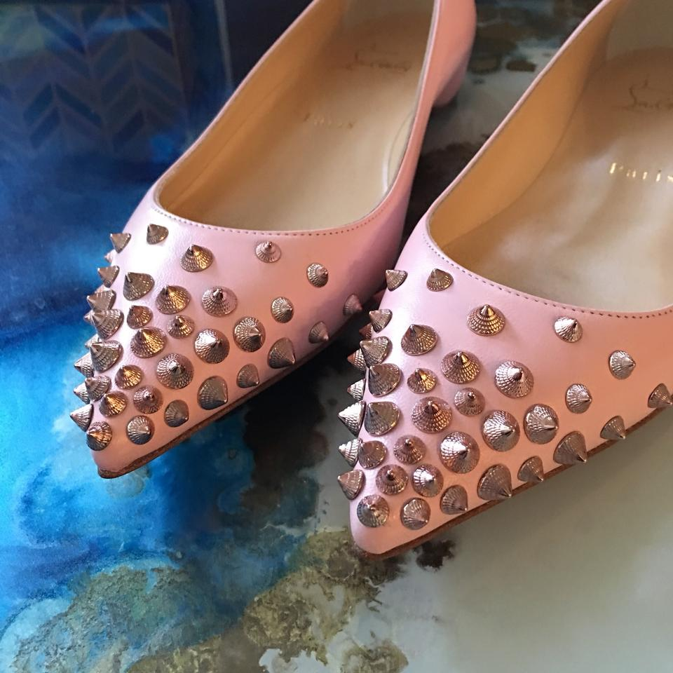 f3287aa31c78 Christian Louboutin Pink Spikyshell Embellished Leather Ballet Flats ...