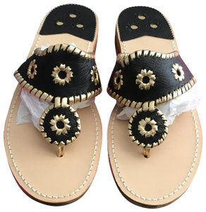Jack Rogers Black and gold Sandals