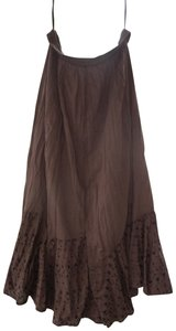 Studio Works Embroidered Asymmetrical Floral Hippie Gypsy Skirt Brown