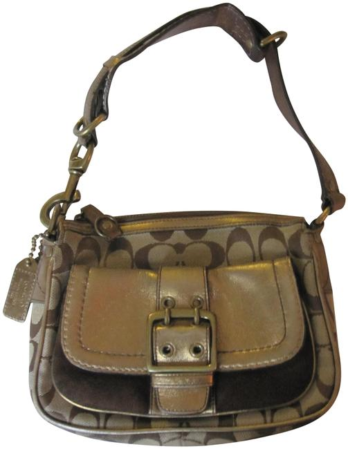 Item - W Metallic Brown Buckle Flap Gold Canvas Leather Suede Baguette
