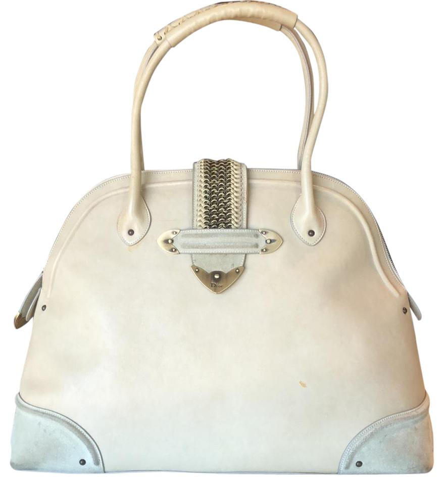 Dior Jeanne Bugatti Christian Leather Bag Shoulder Cream 7qr7Tp