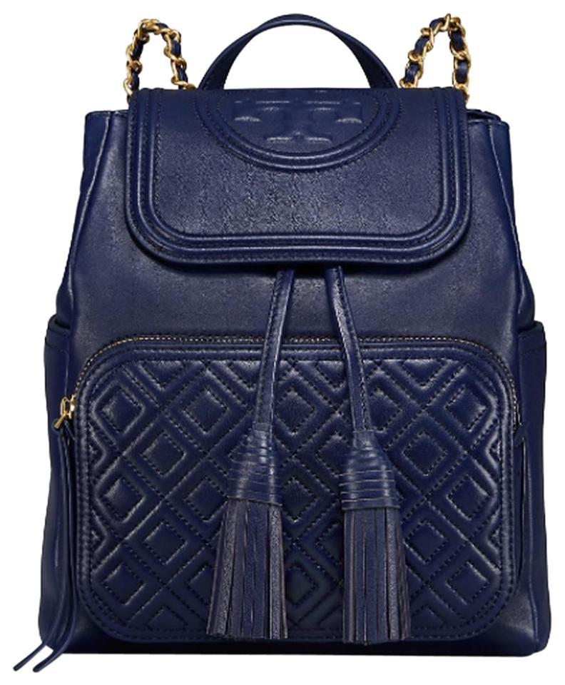a3fbf5a27da Tory Burch Fleming Royal Navy Leather Backpack - Tradesy