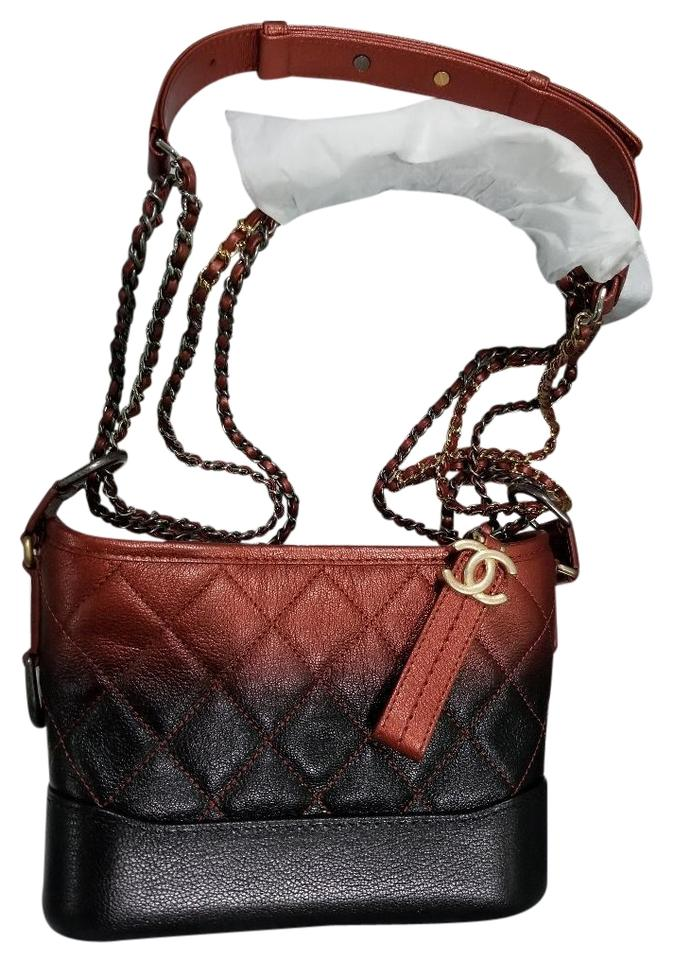 0a13d5bee9f8 Chanel Gabrielle Hobo Aged Calfskin Quilted Small Red Black Leather ...