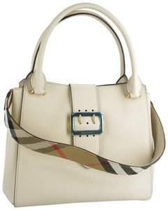 8c00486fb0f3 Burberry Limestone Soft Grained Buckle Satchel Party Check Tote in Beige