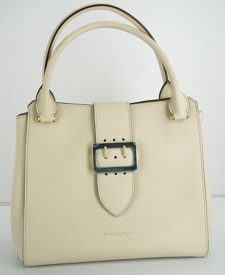 160338d5909b Burberry Limestone Soft Grained Buckle Satchel Party Check Tote in Beige  Image 11. 123456789101112