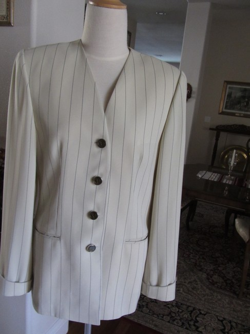 Other Micro Fiber Pant Suit. Jacket and Slacks Ivory/Black