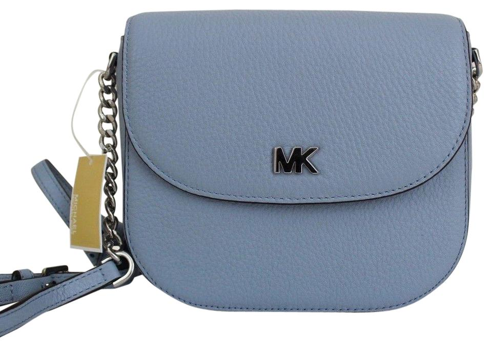 9be388a73c10 Michael Kors Half Dome Pale Blue Silver Leather Cross Body Bag - Tradesy