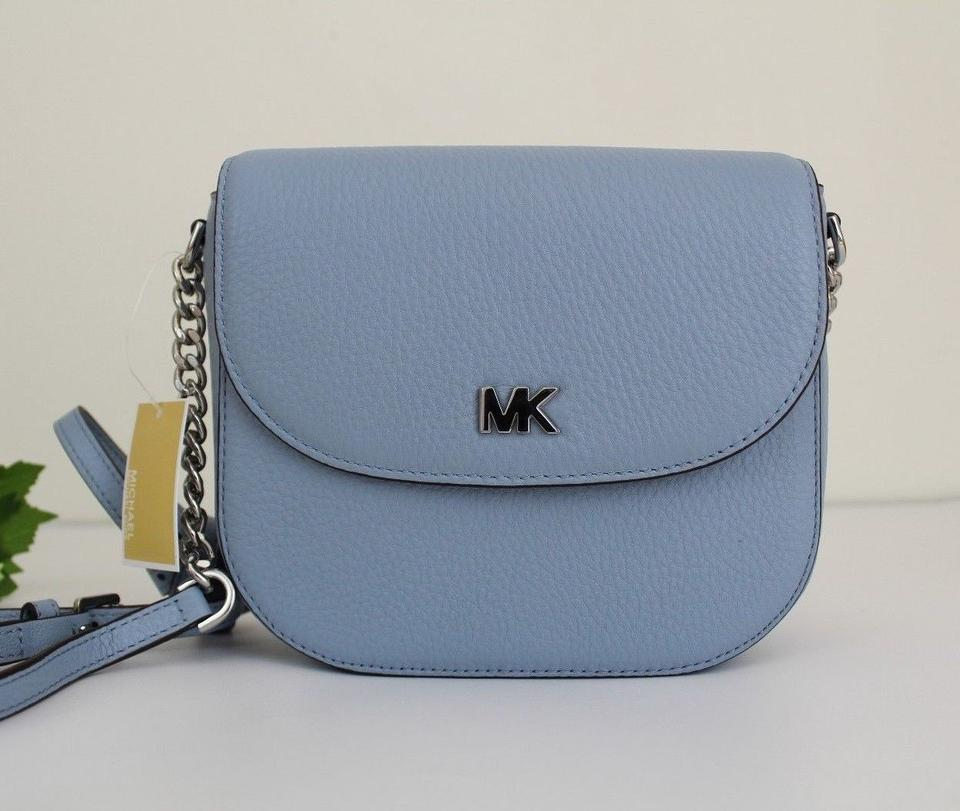 3cab3fbc99c20f Michael Kors Half Dome Pale Blue/Silver Leather Cross Body Bag - Tradesy