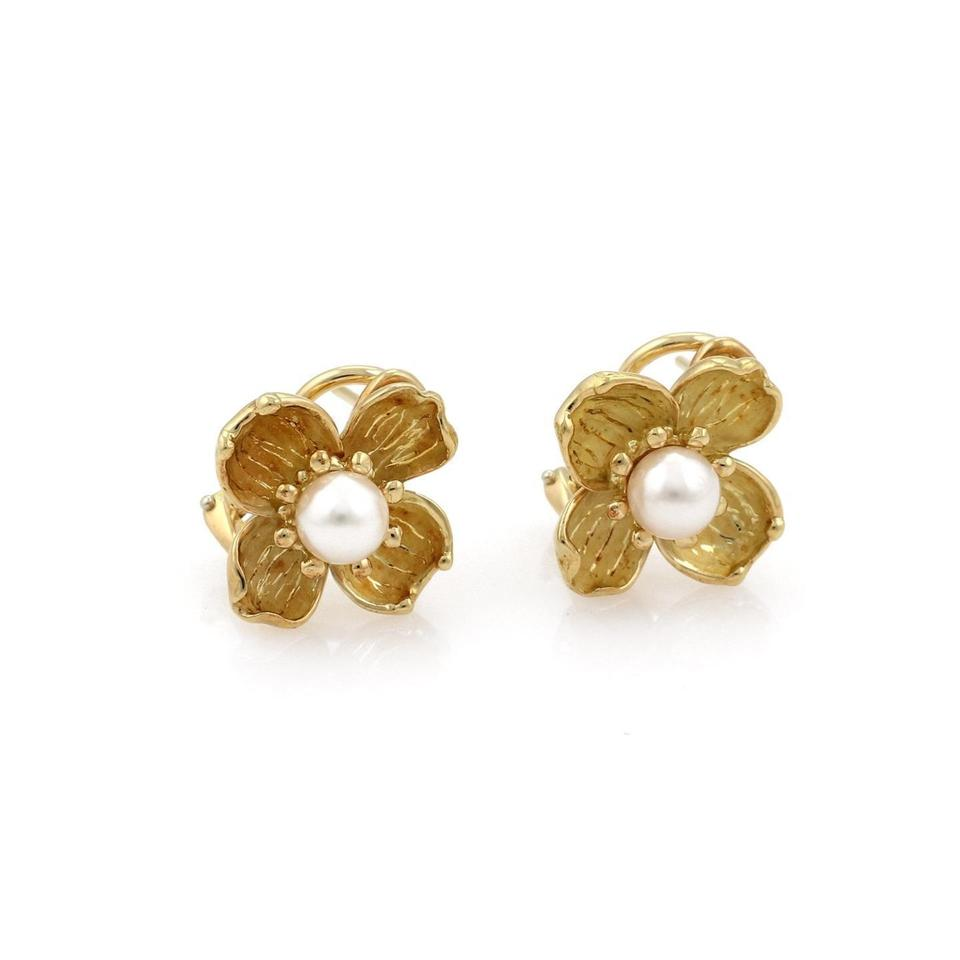 5cbd1f0c6 Tiffany & Co. Pearl 18k Yellow Gold Dogwood Floral Post Clip Earrings Image  0 ...