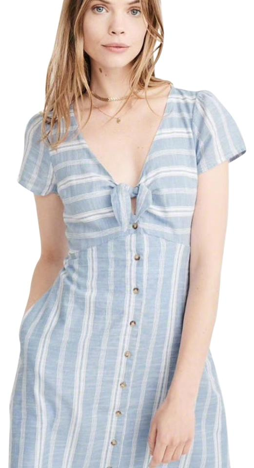 51a6c73edf6 Abercrombie   Fitch Blue White Striped Knot Short Casual Dress Size ...