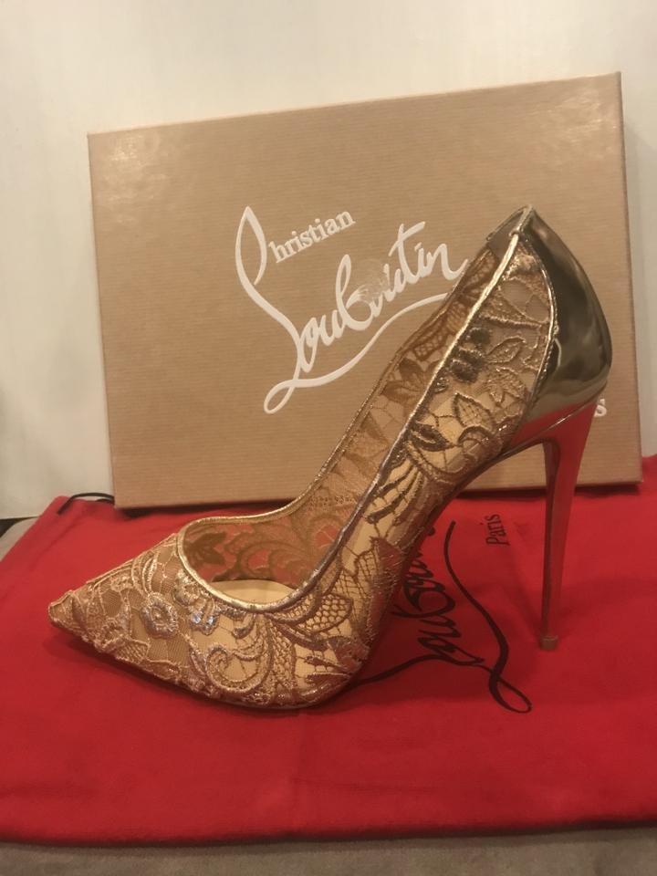 Lace Christian Floral Open Platform Pumps Louboutin 100 Rose Rete Nude Gold Follies Toe w4xqX4grU