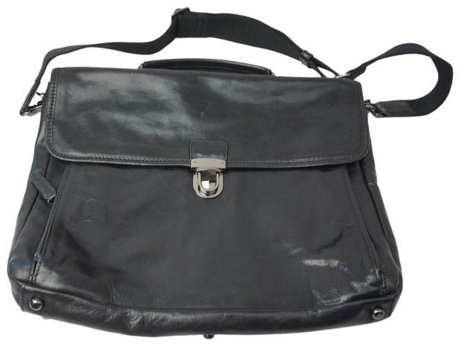 Item - Stanton Top Handle Rich Shoulder Strap Business Case Black Leather Laptop Bag