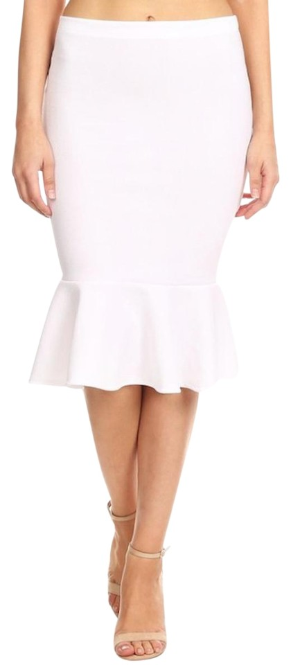 bf6e0eb8b93 White Fishtail Hem Pencil Skirt Size 20 (Plus 1x) - Tradesy
