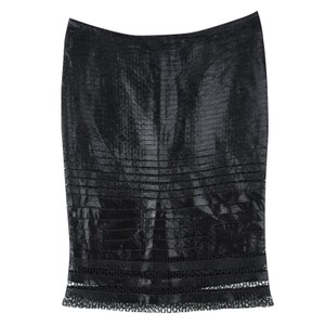 Tom Ford Lace Detail Tiered Pencil Mini Skirt Black