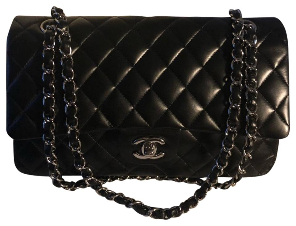 ebc216a9f4d2e4 Chanel Double Flap Classic Medium Quilted Shw Black Lambskin Leather  Shoulder Bag