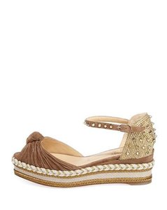 Christian Louboutin Wedge Madcarina Suede Cappuccino (Light Brown) Platforms